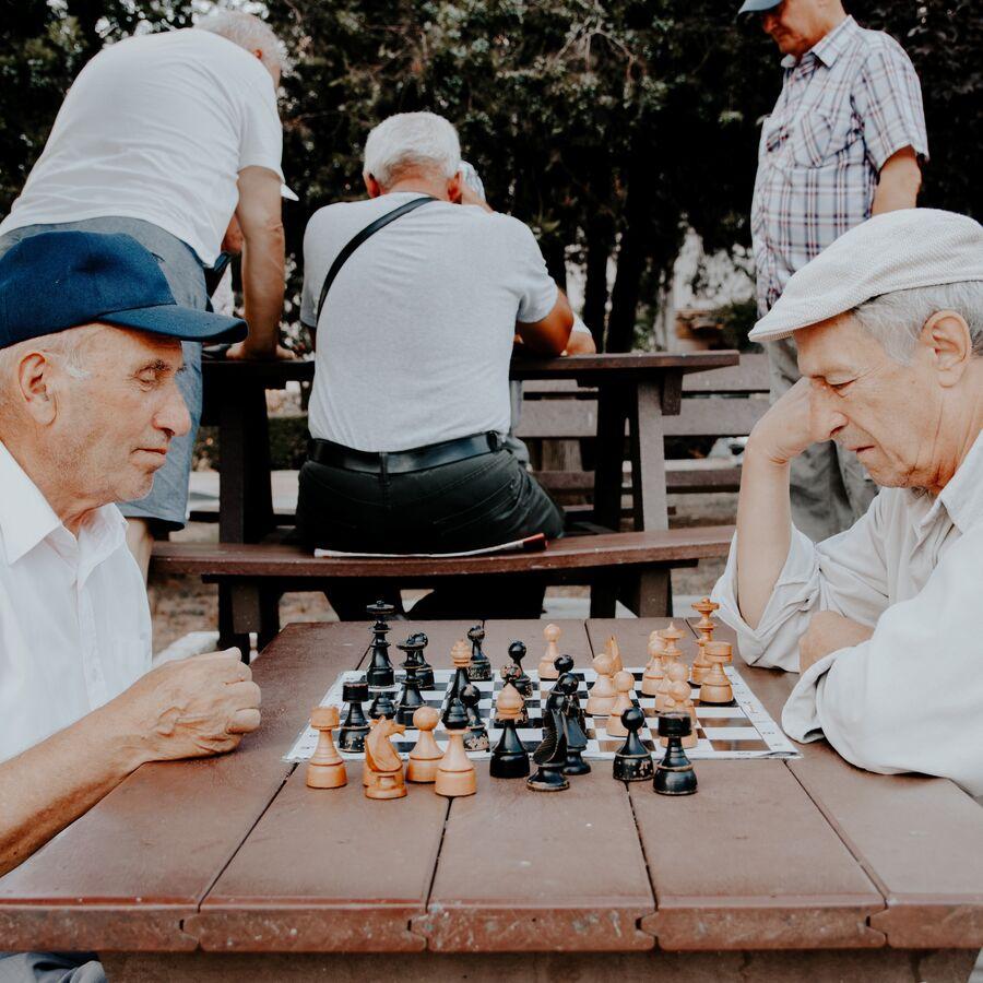 Billede af 2 mænd, der spiller skak