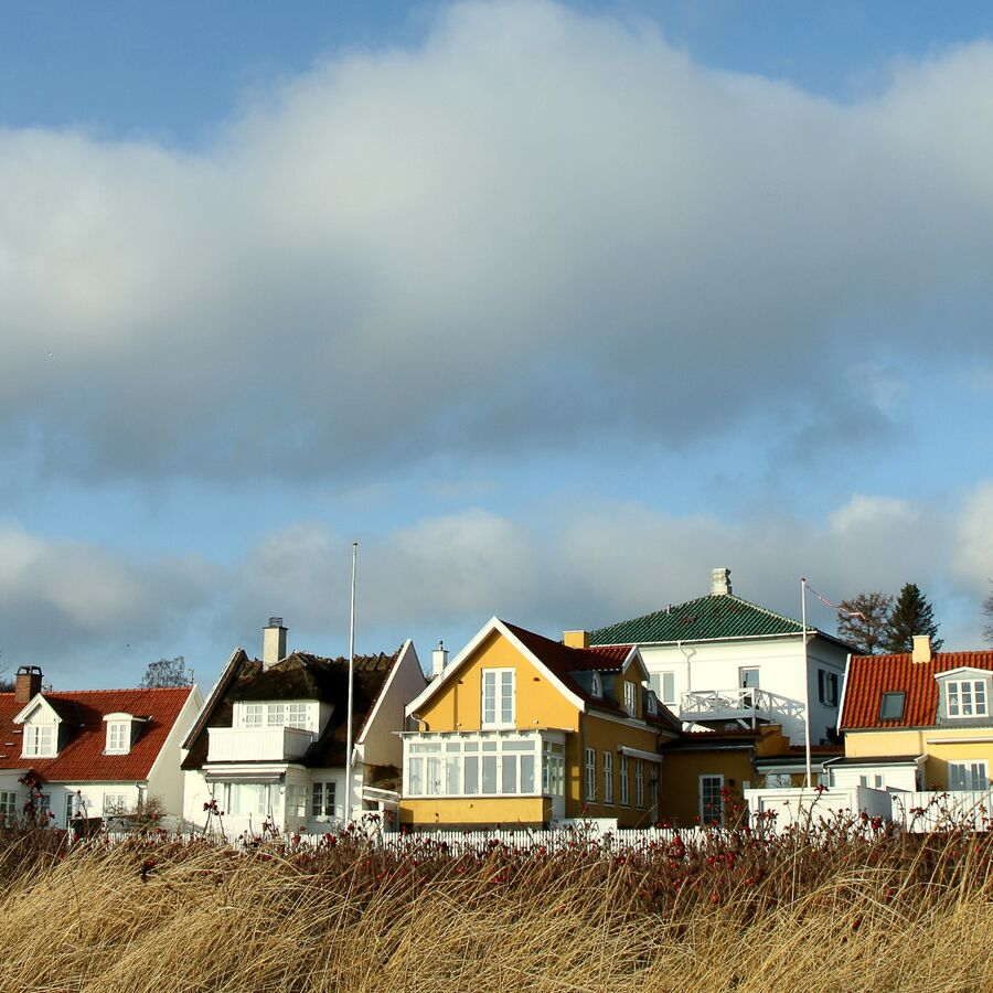 Billede af huse langs stranden
