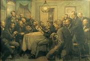 Et møde i foreningen Bogstaveligheden 1. marts 1882.